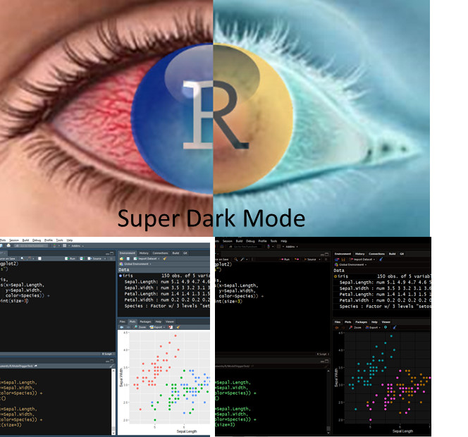 Super Dark IDE Theme, R-Studio, Inverted Color